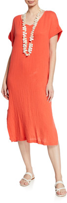 Eileen Fisher Petite V-Neck Short-Sleeve Lofty Organic Cotton Midi Dress