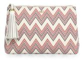 Melissa Odabash Zig-Zag Cotton & Leather Pouch