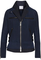 Sacai Hickory Twill-trimmed Striped Cotton-canvas Peplum Jacket - Navy