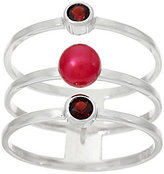 Honora As Is Cultured Pearl & Gemstone Triple Band Sterling Ring