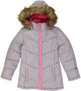 Weatherproof Gray Faux Fur-Trim Puffer Coat - Girls