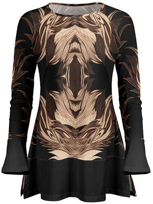 Lily Women's Tunics BLK - Black & Brown Abstract Ruffle Long-Sleeve Tunic - Women & Plus