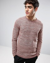 Selected Crew Neck Knitted Sweater in Textured Stripe