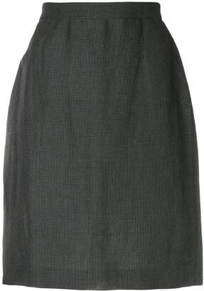 Krizia Pre Owned Micro Check-Print Pencil Skirt