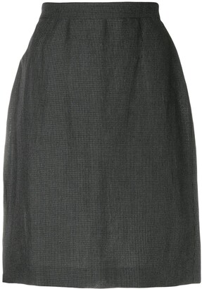 Krizia Pre-Owned Micro Check-Print Pencil Skirt