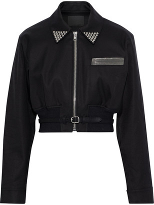 Alexander Wang Cropped Embellished Cotton-twill Jacket