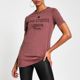 River Island Womens Purple 'Soho Studio' RI jumbo t-shirt