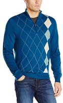 Haggar Men's Asymmetrical Argyle Quarter-Zip Sweater
