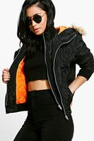 Boohoo Petite Megan Double Layer MA1 Bomber Jacket black