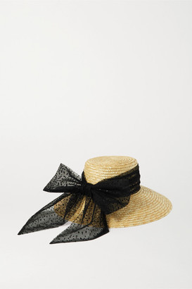 Eugenia Kim Annabelle Swiss-dot Tulle-trimmed Straw Hat - Yellow