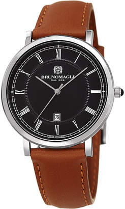 Bruno Magli 41mm Milano Date Watch w/ Leather, Brown/Black