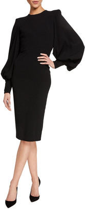 Alex Perry Blunt Balloon-Sleeve Bodycon Dress