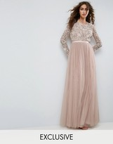 Needle & Thread Needle and Thread Long Sleeve Embroidered Maxi Dress