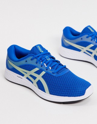 Asics Running Patriot 11 sneakers in blue and silver