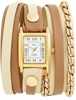 La Mer Women's Leather & Chain Wrap Watch, 19Mm