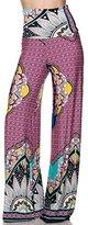 2LUV Women's Printed High Waisted Palazzo Pants S (OF-B2020 (Pink))