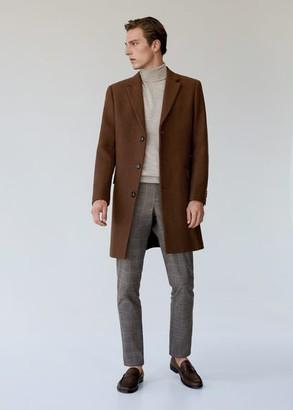 MANGO Tailored wool-blend overcoat