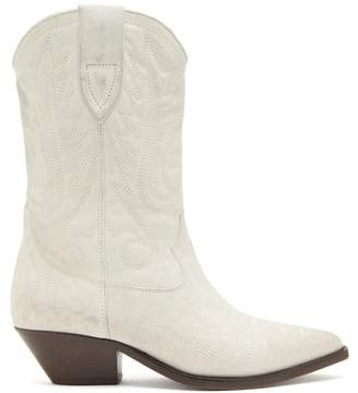 Isabel Marant Duerto Distressed-leather Western Boots - Womens - White