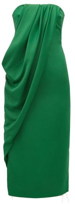 Marina Moscone - Strapless Draped Crepe Dress - Green