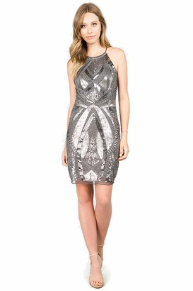 Minuet Women's Jeweled Sequin Short Dress