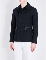 Sandro Faux leather-trimmed cotton-blend coat