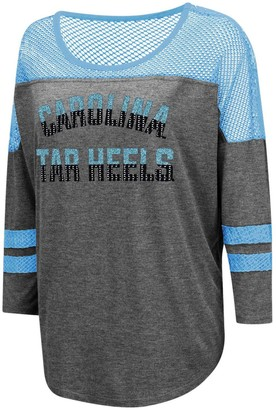 Colosseum Women's Charcoal North Carolina Tar Heels Fine! Oversized Mesh Yoke 3/4-Sleeve T-Shirt