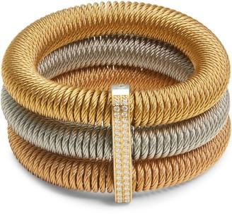 Alor Kai 18K White Gold & Tri-Tone Stainless Steel Diamond Tiered Coiled Bangle Bracelet