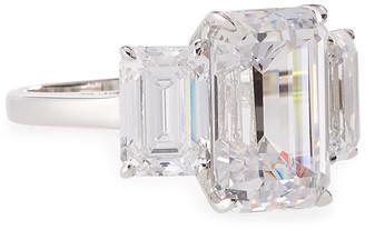 FANTASIA Three-Stone Emerald-Cut Cubic Zirconia Crystal Ring
