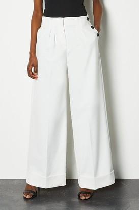 Karen Millen Side Button Wide Leg Trousers