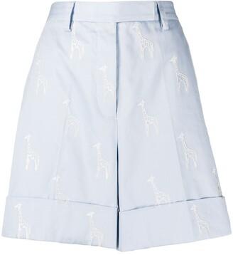 Thom Browne Giraffe-Embroidered Shorts