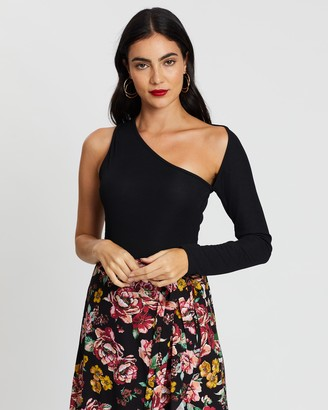 boohoo One Sleeve Cut-Out Bodysuit