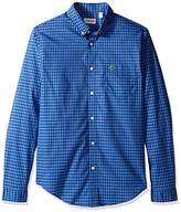 Lacoste Men's Long Sleeve Gingham Check Poplin reg Fit Woven Shirt-CH3940