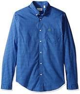 Lacoste Men's Long Sleeve Gingham Check Poplin Reg Fit Woven Shirt