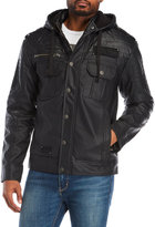 Affliction Reflection Hooded Faux Leather Jacket