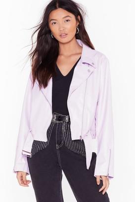 Nasty Gal Womens Game Plan Faux Leather Moto Jacket - Purple - 4