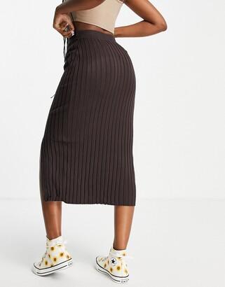 Monki Loa ecovero ribbed midi skirt in brown