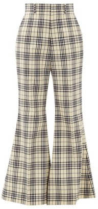 Gucci Flared Checked-wool Trousers - Womens - Blue White