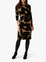 Phase Eight Gretchen 3/4 Sleeve Print Dress, Camel/Black