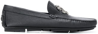 Roberto Cavalli Snake-Buckle Leather Loafers