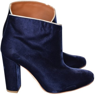 Malone Souliers Blue Velvet Ankle boots