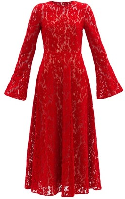 Christopher Kane Fluted-sleeve Flocked-velvet Lace Dress - Red