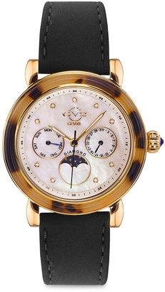 Gv2 Moon Valley Stainless Steel Leather Strap Moon Phase Watch