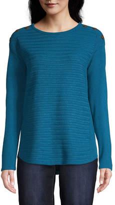 ST. JOHN'S BAY Button Shoulder Sweater