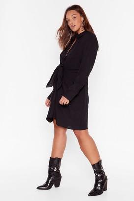 Nasty Gal Womens Knot So Fast Plus Tie Shirt Dress - Black - 16, Black