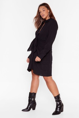 Nasty Gal Womens Knot So Fast Plus Tie Shirt Dress - Black - 16