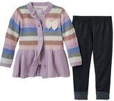 Little Lass Toddler Girl Metallic Button-Front Sweater Dress, Tee & Denim Leggings Set