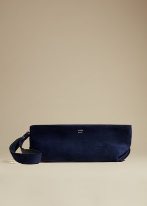 KHAITE The Alma Wristlet in Navy Suede