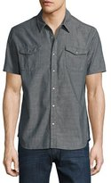 John Varvatos Snap-Front Short-Sleeve Sport Shirt, Gray
