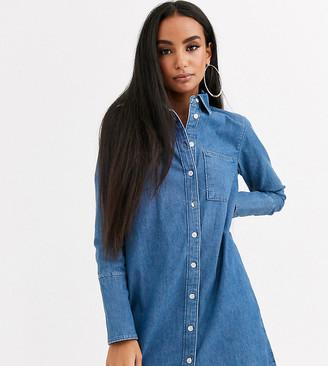 ASOS DESIGN Petite denim shirt dress in blue