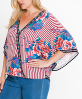 Flying Tomato Red & Ivory Pinstripe Floral Surplice Top - Plus